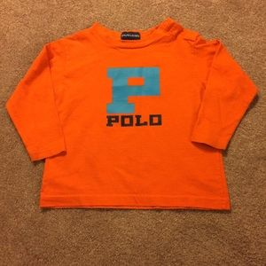Ralph Lauren Orange L/S Graphic POLO Tee Shirt
